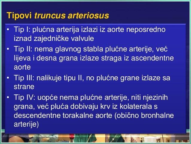 Tipovi truncus arteriosus • Tip I: plućna arterija izlazi iz aorte neposredno iznad zajedničke valvule • Tip II: nema glav...