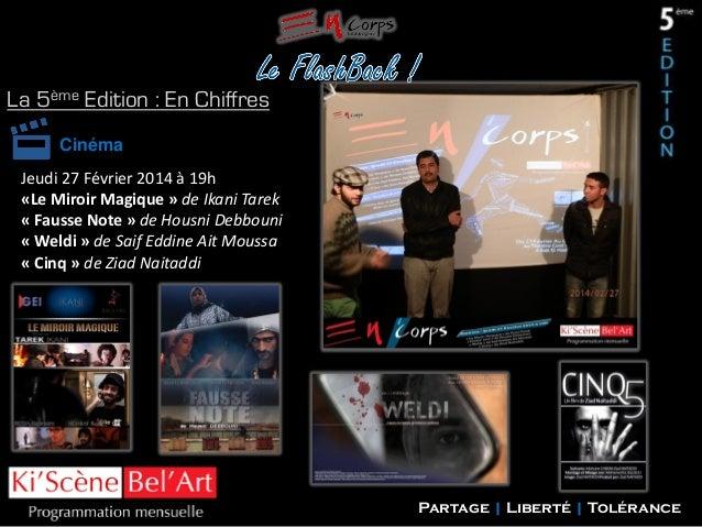 La 5ème Edition : En Chiffres Cinéma Jeudi 27 Février 2014 à 19h «Le Miroir Magique » de Ikani Tarek « Fausse Note » de Ho...