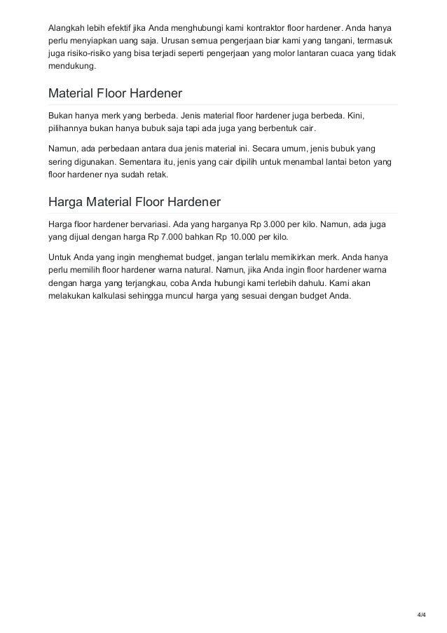Bahan Harga Floor Hardener Murah Meriah 0821 1372 4737