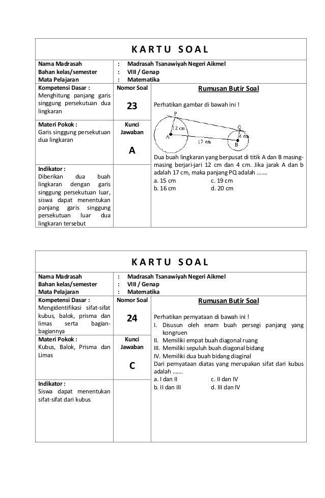 Kisi kisi dan Kartu Soal Matematika Kelas 8