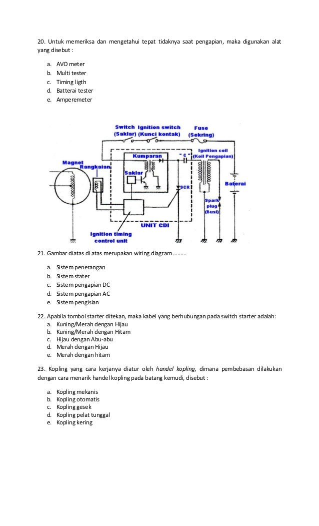 Kisi Kisi Soal Tsm on Cdi Tester Diagram