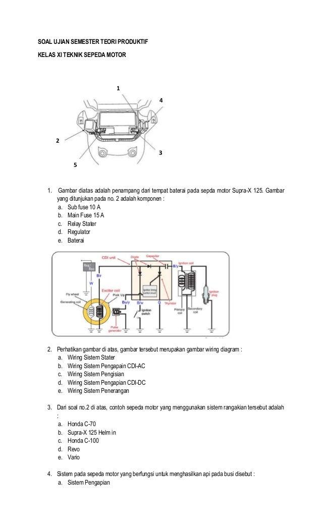 SOAL UJIAN SEMESTER TEORI PRODUKTIFKELAS XI TEKNIK SEPEDA MOTOR1. Gambar diatas adalah penampang dari tempat baterai pada ...