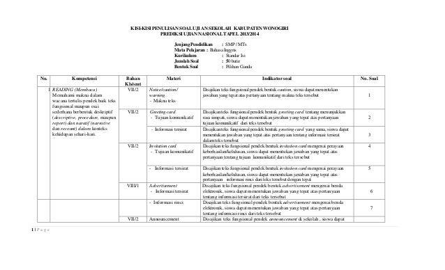 KISI-KISI PENULISAN SOAL UJI AN SEKOLAH KABUPATEN WONOGIRI PREDIKSI UJIAN NASIONAL TAPEL 2013/2014 Jenjang Pendidikan : SM...
