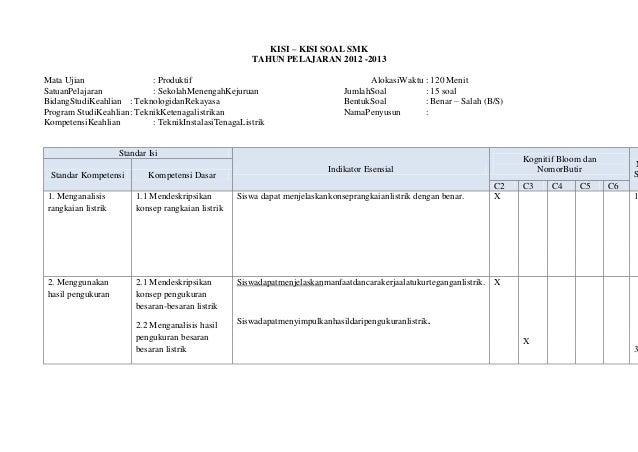 KISI – KISI SOAL SMK                                                       TAHUN PELAJARAN 2012 -2013Mata Ujian           ...