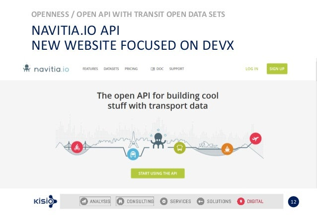 OPENNESS / OPEN API WITH TRANSIT OPEN DATA SETS 12 NAVITIA.IO API NEW WEBSITE FOCUSED ON DEVX