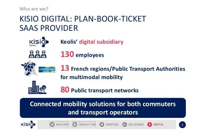 Who are we? 2 KISIO DIGITAL: PLAN-BOOK-TICKET SAAS PROVIDER Keolis' digital subsidiary 130 employees 13 French regions/Pub...