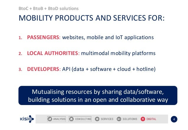 BtoC + BtoB + BtoD solutions 4 MOBILITY PRODUCTS AND SERVICES FOR: 1. PASSENGERS: websites, mobile and IoT applications 2....