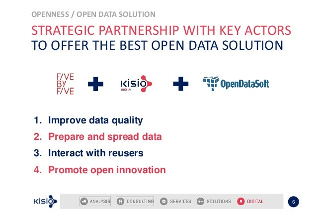OPENNESS / OPEN DATA SOLUTION 6 STRATEGIC PARTNERSHIP WITH KEY ACTORS TO OFFER THE BEST OPEN DATA SOLUTION 1. Improve data...