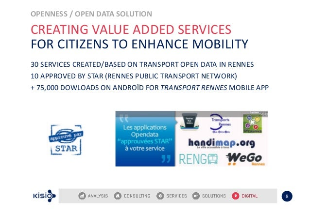 OPENNESS / OPEN DATA SOLUTION 8 CREATING VALUE ADDED SERVICES FOR CITIZENS TO ENHANCE MOBILITY 30 SERVICES CREATED/BASED O...
