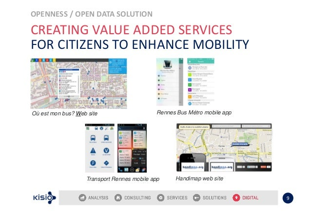 OPENNESS / OPEN DATA SOLUTION 9 CREATING VALUE ADDED SERVICES FOR CITIZENS TO ENHANCE MOBILITY Où est mon bus? Web site Ha...