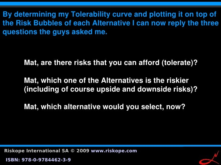 BydeterminingmyTolerabilitycurveandplottingitontopof theRiskBubblesofeachAlternativeIcannowreplythet...