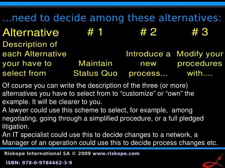 ...need to decide among these alternatives: Alternative                   #1                 #2               #3 Descri...