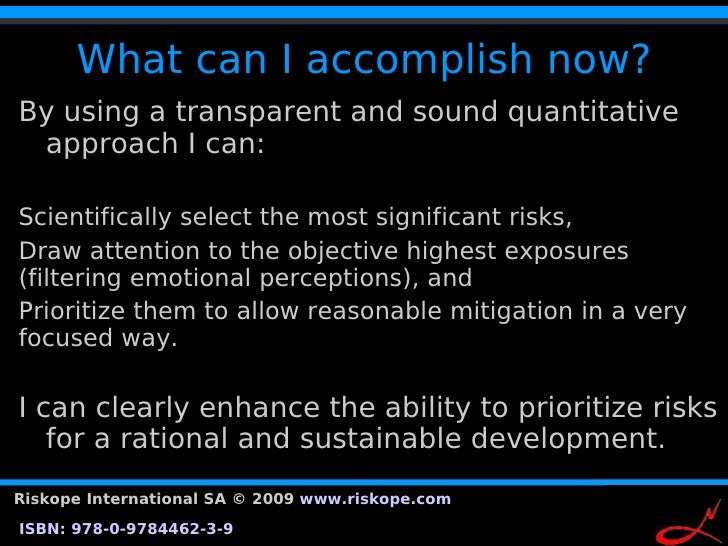 What can I accomplish now? By using a transparent and sound quantitative  approach I can:  Scientifically select the most ...