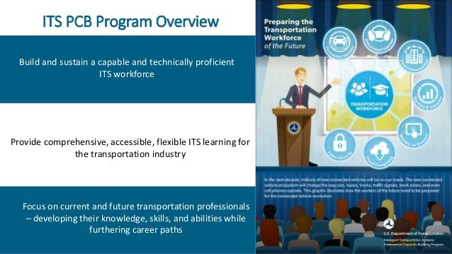 ITS PCB Program Overview 1 Focus on current and future transportation professionals – developing their knowledge, skills, ...