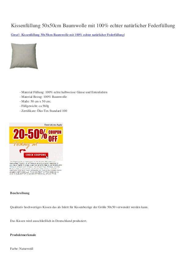 Kissenfüllung 50x50cm Baumwolle mit 100% echter natürlicher FederfüllungGreat!- Kissenfüllung 50x50cm Baumwolle mit 100% e...