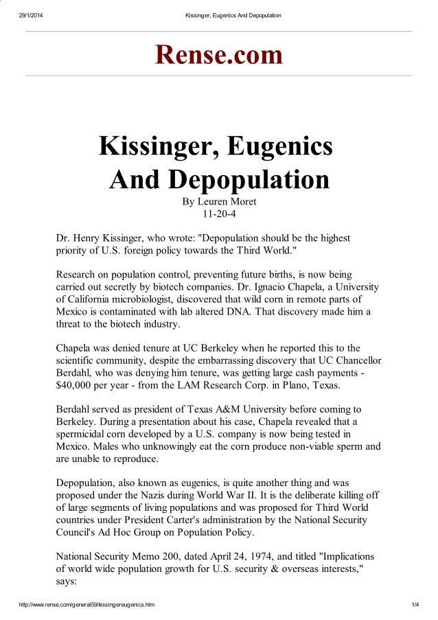 Kissinger, eugenics and depopulation