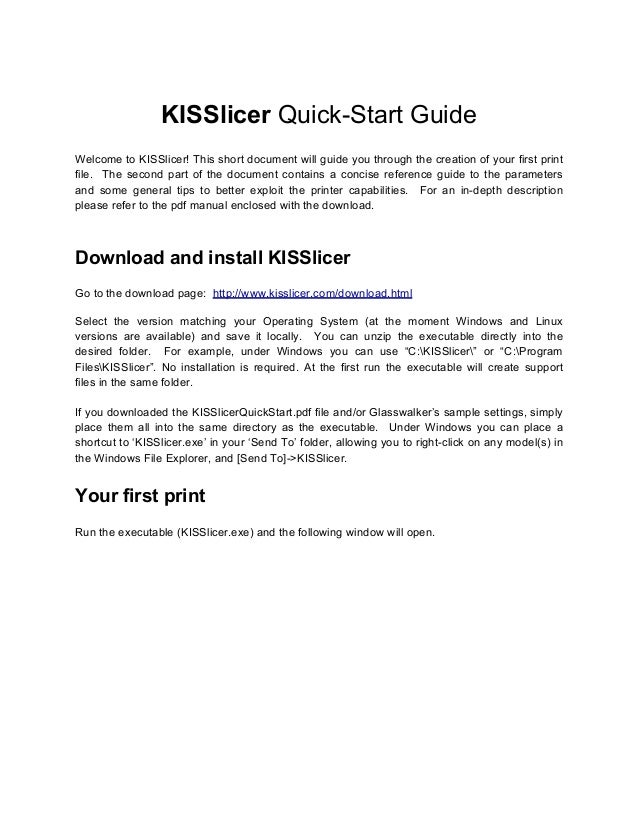 Kis slicer quickstart