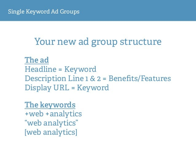 Single Keyword Ad Groups Your new ad group structure The ad Headline = Keyword Description Line 1 & 2 = Benefits/Features ...