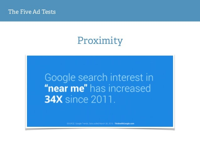 The Five Ad Tests Proximity