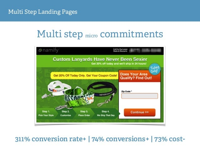 Multi Step Landing Pages Multi step micro commitments 311% conversion rate+ | 74% conversions+ | 73% cost-