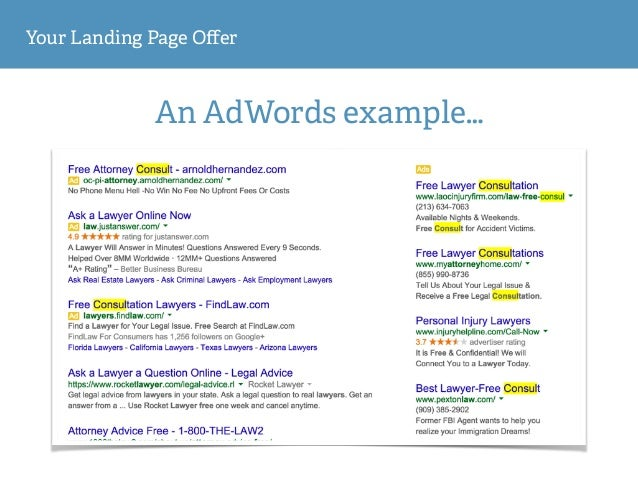 Your Landing Page Offer An AdWords example…