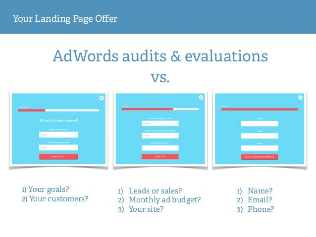 Your Landing Page Offer AdWords audits & evaluations 1) Your goals? 2) Your customers? 1) Leads or sales? 2) Monthly ad bu...