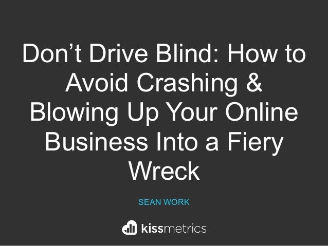 Don't Drive Blind: How to Avoid Crashing & Blowing Up Your Online Business Into a Fiery Wreck SEAN WORK