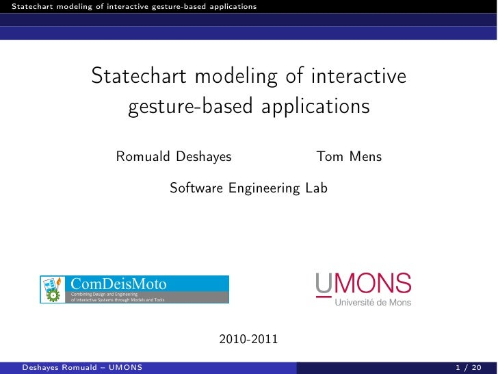 Statechart modeling of interactive gesture-based applications                   Statechart modeling of interactive        ...