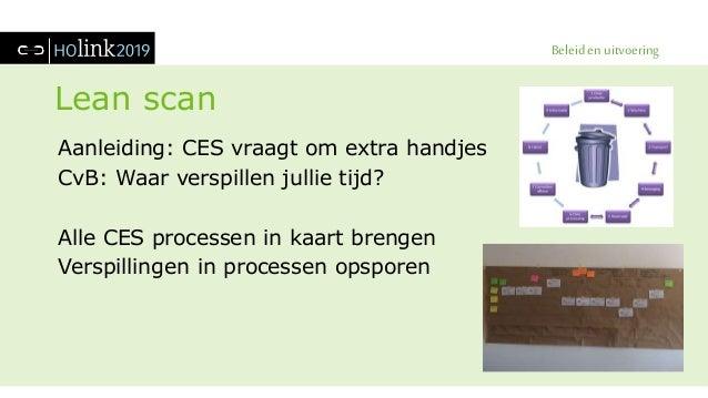 Beleid en uitvoering Lean scan Aanleiding: CES vraagt om extra handjes CvB: Waar verspillen jullie tijd? Alle CES processe...