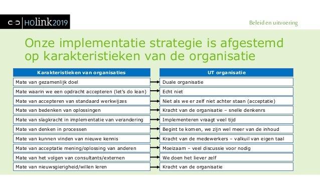 Beleid en uitvoering Onze implementatie strategie is afgestemd op karakteristieken van de organisatie Duale organisatie Ec...