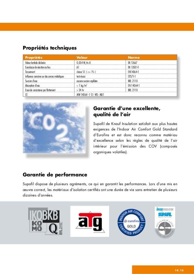 Propriétés techniques Garantie d'une excellente, qualité de l'air Supafil de Knauf Insulation satisfait aux plus hautes ex...
