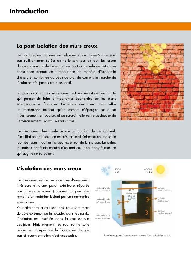Introduction La post-isolation des murs creux De nombreuses maisons en Belgique et aux Pays-Bas ne sont pas suffisamment i...