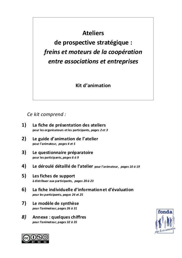 Ateliers de prospective stratégique : freins et moteurs de la coopération entre associations et entreprises  Kit d'animati...