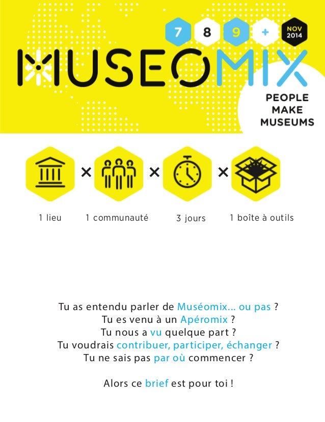 +  +  +  1 lieu 1 communauté 3 jours 1 boîte à outils  Tu as entendu parler de Muséomix... ou pas ?  Tu es venu à un Apéro...