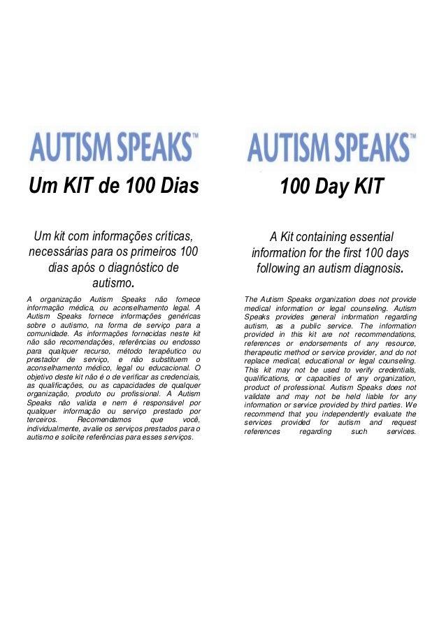 Kit 100 dias do autismo um kit de 100 dias um kit com informaes crticas necessrias para os primeiros 100 fandeluxe Choice Image