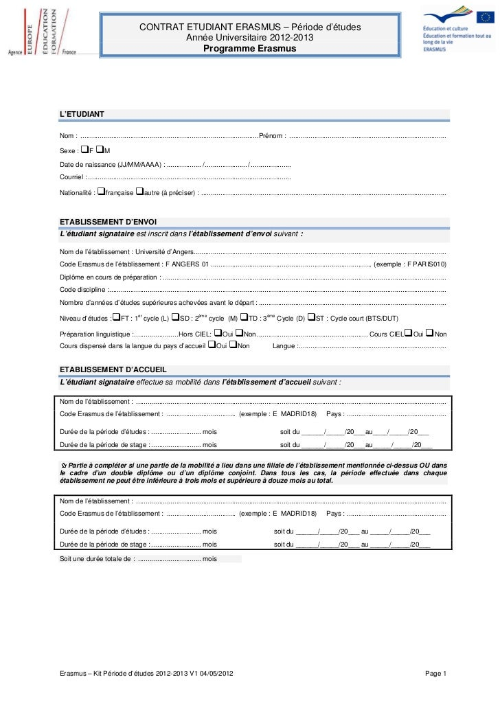 CONTRAT ETUDIANT ERASMUS – Période d'études                                                Année Universitaire 2012-2013  ...