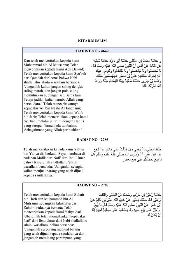 KITAB MUSLIMHADIST NO - 4642Dan telah menceritakan kepada kamiMuhammad bin Al Mutsanna; Telahmenceritakan kepada kami Abu ...
