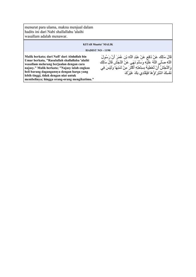 menurut para ulama, makna menjual dalamhadits ini dari Nabi shallallahu alaihiwasallam adalah menawar.KITAB Muatta' MALIKH...