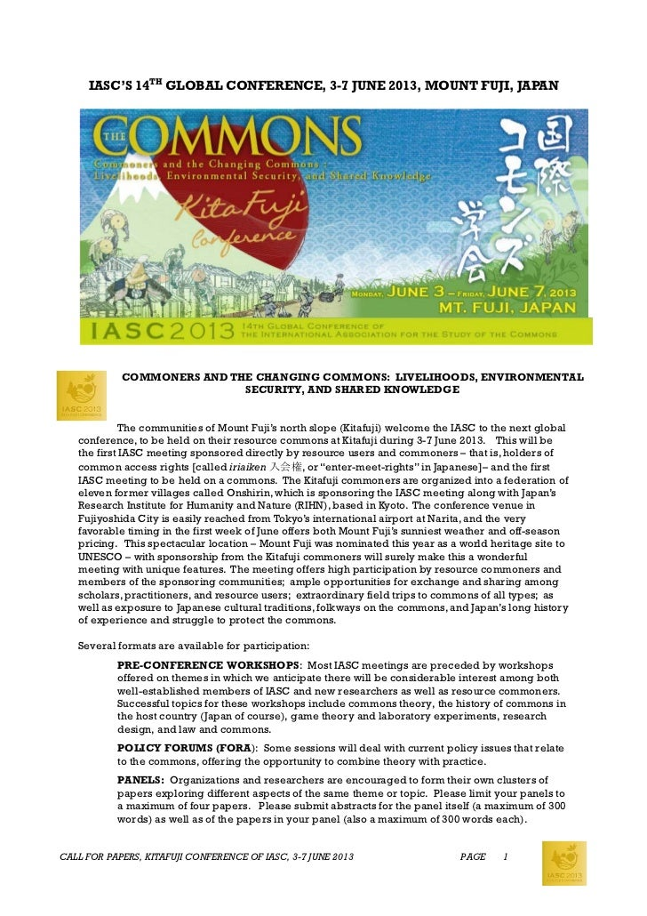 IASC'S 14TH GLOBAL CONFERENCE, 3-7 JUNE 2013, MOUNT FUJI, JAPAN            COMMONERS AND THE CHANGING COMMONS: LIVELIHOODS...