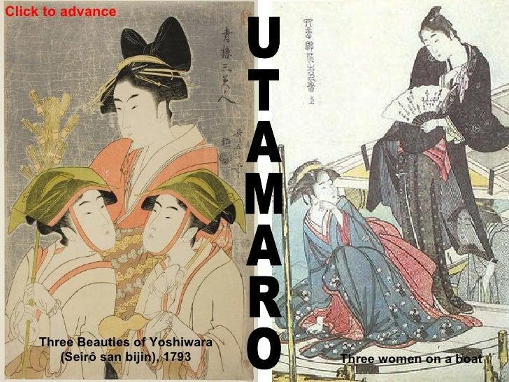 UTAMARO Three women on a boat  Three Beauties of Yoshiwara  (Seirô san bijin), 1793 Click to advance