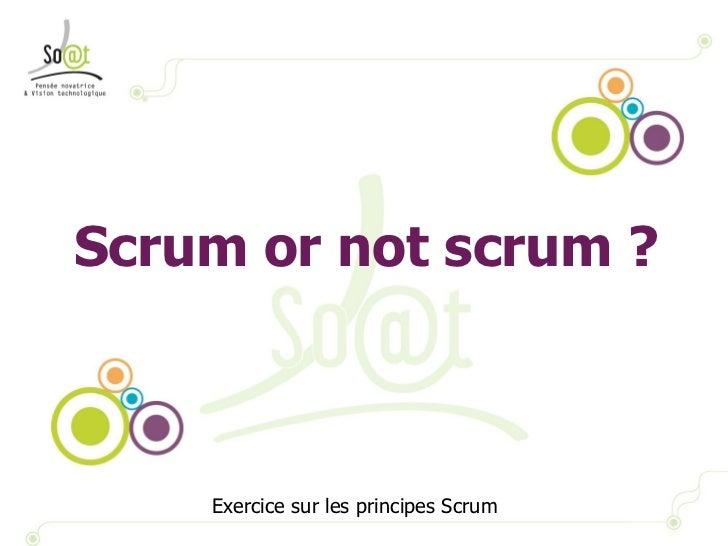 Scrum or not scrum ? Exercice sur les principes Scrum