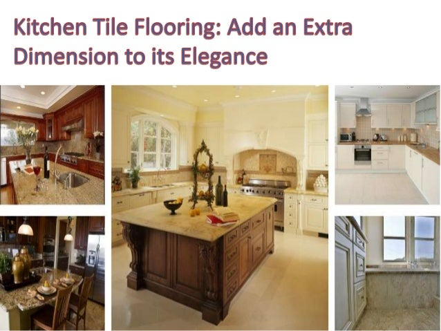Tile flooring that blends perfectly with the kitchen accessories to impart a spacious look. Great idea!