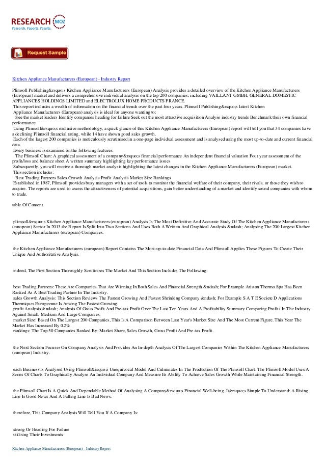 Kitchen Appliance Manufacturers (European) - Industry Report Plimsoll Publishing's Kitchen Appliance Manufacturers (...