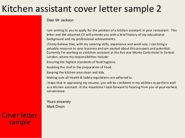 Kitchen Assistant Cover Letter .