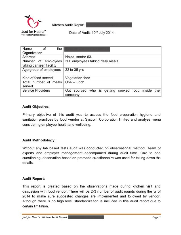 Great Just For Hearts: Kitchen Audit Report: Syscom Corporation Limited Page 1  Kitchen Audit Report ...