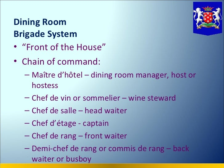 Kitchenbrigade for Dining room meaning