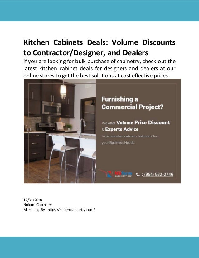 Kitchen Cabinets Deals: Volume Discounts to Contractor ...