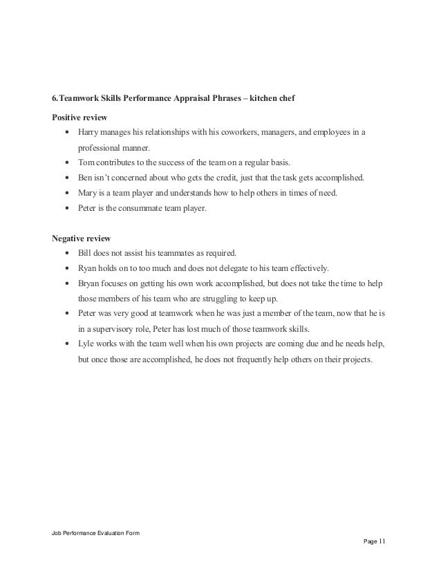 Kitchen chef performance appraisal job performance evaluation form page 10 11 spiritdancerdesigns Image collections