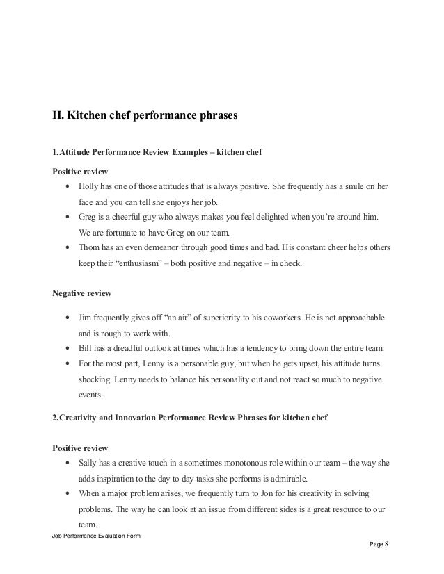 Kitchen Chef Performance Appraisal
