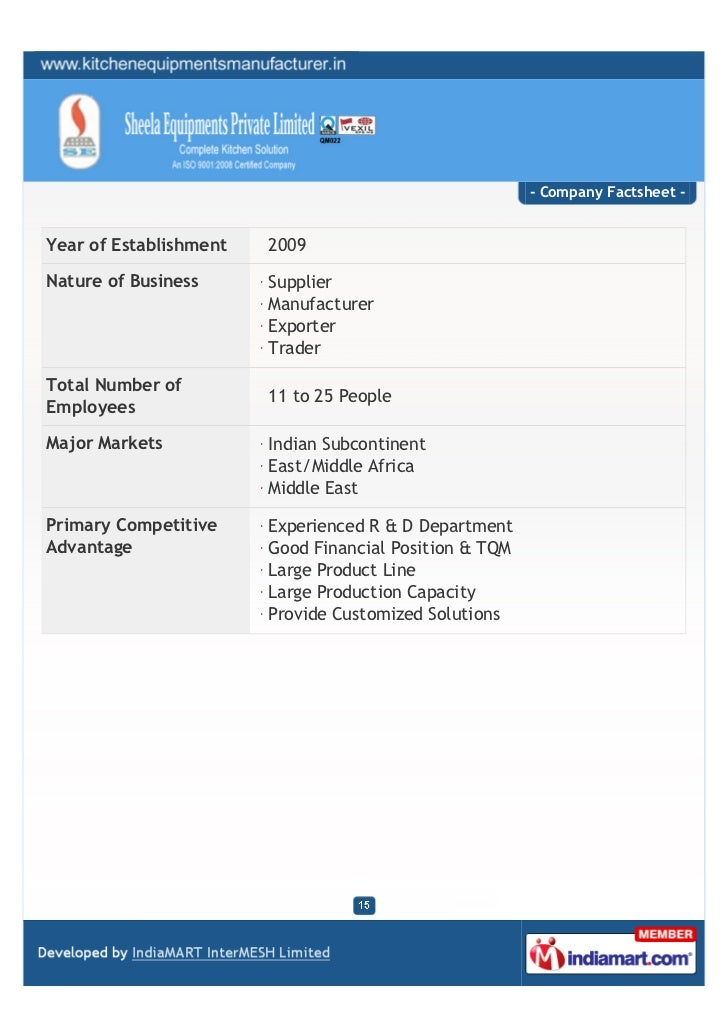 - Company Factsheet -Year of Establishment   2009Nature of Business      Supplier                        Manufacturer     ...